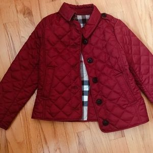Burberry Girls Red Diamond Quilted Jacket